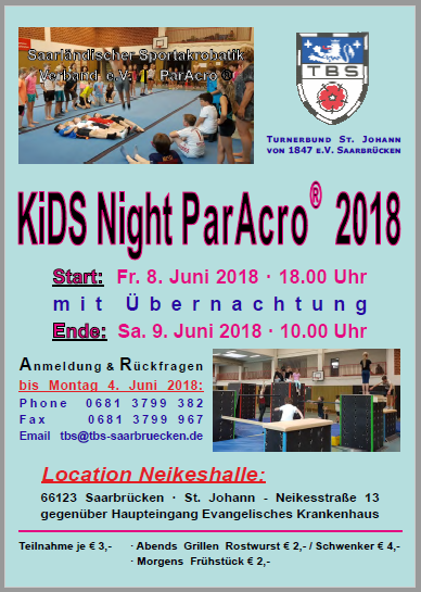 ParAcro Kids Night 2018 Nikeshall SB 8./9. Juni 2018